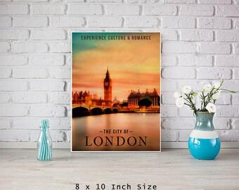 UK Britain 8x10 Art Print City Of London Big Ben Wall Art British Decor UK Wall Art Colorful Sunset Sky Art River Thames