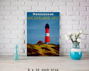 Lighthouse Poster 8x10 Art Print Nautical Home Decor Germany Sylt Island North Sea Art Lighthouse Decor Beach Cottage Art