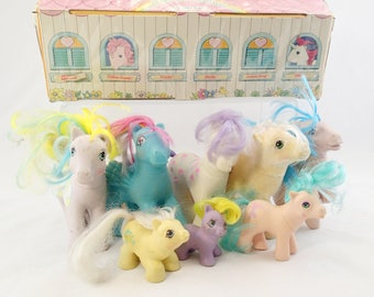 Carry Case Lot of My Little Ponies 8 Pony TLC G1 First Gen Generation So soft Baby Pegasus Unicorn earth teeny tiny twin slumber party