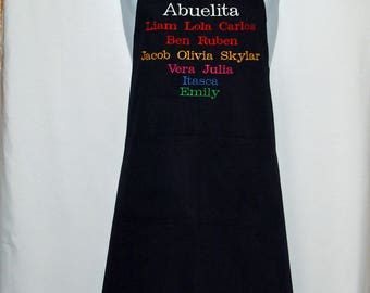 Abuelita Apron, Personalize Twelve Kids Names, For Grandparent, Gramps, Gram, Nannie, MaMa, Mammie, No Shipping Fee, ShipsTODAY, AGFT 1237