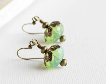 Light Milky Lime Green Faceted Glass Earrings on Antiqued Brass Hooks