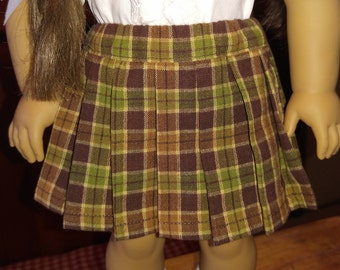 1940s Brown Plaid Pleated Skirt Molly or Emily fits 18 inch doll