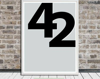 Fourty-two, 42 (minimalist poster), Hitchhiker's Guide to Galaxy, Douglas Adams, Midcentury, Printable Art, Instant Digital Download