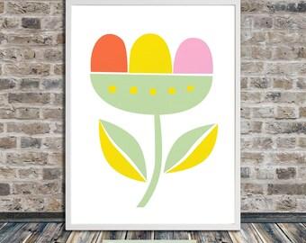 Scandinavian flower print, geometric mid century print, Minimalistic poster, Printable Art, Instant Digital Download