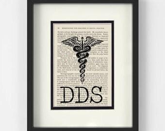Dentist Graduation Gift, Dentist Graduation Gift - DDS over Vintage Dental Book Page - Dentist Gift, DDS Gift, Dentist Graduation Gift