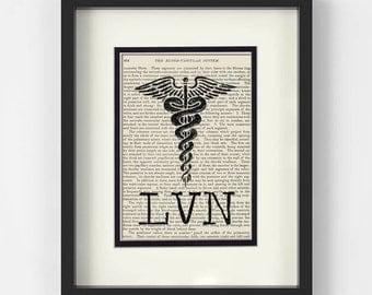 LVN, Licensed Vocational Nurse, over Vintage Medical Book Page -  LVN Graduation Gift, LVN Pin Ceremony
