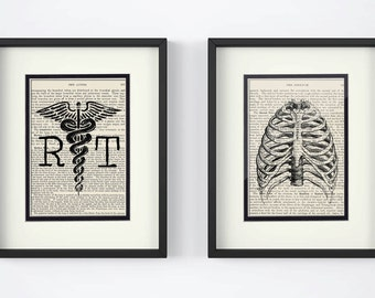 Radiologist Technician Gift - Set of 2 - RT, Chest over Vintage Medical Book Pages - Xray, Xray Tech, Xray Tech Graduation, Chest Xray