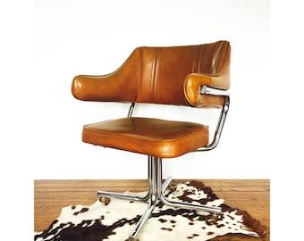 Mid Century Vinyl and Chrome Swivel Office Chair
