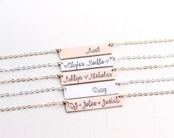 Personalized Bar Necklace. Hand Stamped Custom Name Bar Necklace, Calligraphy Font. Mother's Gold Bar Necklace. Hand Lettering Font. Script.