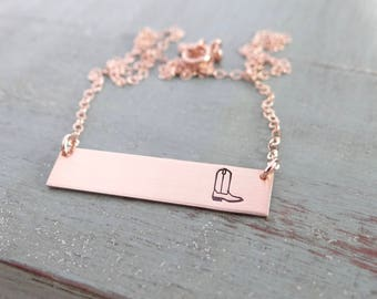 Cowgirl Boot Bar Necklace. Add Custom Name or Words. Country Western Jewelry. Hand Stamped Jewelry.  Simple Layering Bar Necklace.