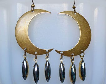 Moon Drips // Large Antiqued Brass Crescent Moon Earrings w/ Vintage Hematite Gems, Statement Bohemian Bohochic Moonchild Witch Papermoon