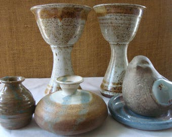 6 Piece VINTAGE POTTERY COLLECTION Assorted Wheel Thrown Pottery 2 Goblets 1 Oil Lamp 1 Vase 1 Cast Ceramic Bird Hand Made Pottery