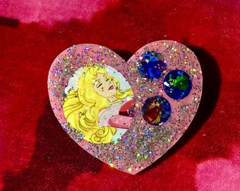 Princess Aurora Heart Brooch.