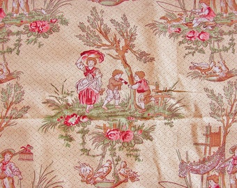Vintage Toile Fabric Yellow Green Burgundy Brown Children Playing Mother Carrying Wash Boys Fishing Cotton Fabric