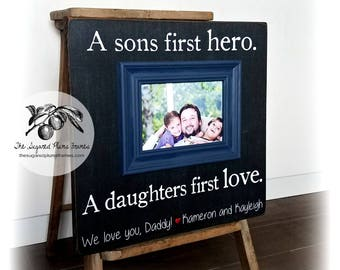 Fathers Day Gift, Police Officer Gifts, Fathers Day Frame, Police Blue, Sons First Hero A Daughters First Love 16x16 The Sugared Plums Frame