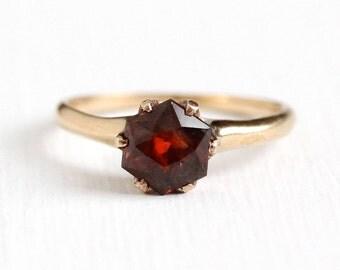 Sale - Alternative Engagement Ring - Vintage Genuine Brown Orange Sapphire 14k Yellow Gold Fine Jewelry - Size 5 1/4 Gem With EGL Appraisal
