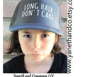 Long Hair Don't Care #BOY Trucker Hat,Long Hair Don't Care #BOY truck Hat,Long Hair Don't Care kids trucker hat,Long Hair Youth Trucker Hat