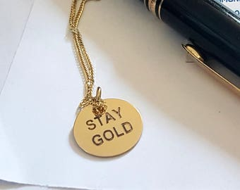 Charmed Chain Necklace, Sweet Sixteen, Stay Gold Engraved Disc, Gold Pendant, Handmade Gold Tag, Personalized Disk Charm, Venexia Jewelry