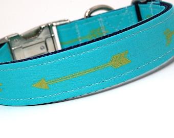 Handmade Dog Collar - Arrows Abound in Teal - Turquoise Dog Collar Custom Made - With Golden Arrows - Modern Dog Collar