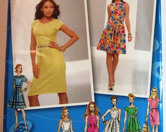 Misses Dress with Neckline and Skirt Variations Sizes 4 6 8 10 12 Simplicity Pattern 2588 UNCUT