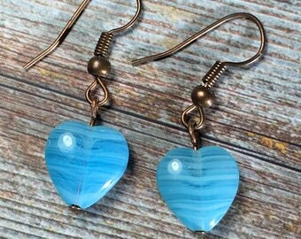 Sky Blue Heart Earrings - glass / beaded / love romance romantic / handmade jewelry / women teen girl / simple antique copper / short / sale