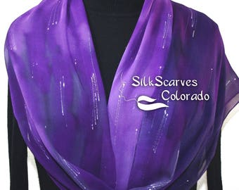Silk Scarf Hand Painted Chiffon Silk Shawl Purple Lavender Hand Dyed Scarf PERFECTLY PURPLE ExtraLong 11x90 Birthday Gift Scarf Gift-Wrapped
