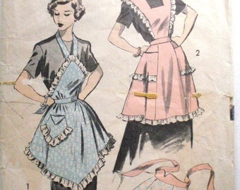 1950's Bib Apron and Half Apron Sewing Pattern - Advance 5884 - Size Medium (14-16) - Waist 26 1/2 - 28 - Unprinted - MISSING BACK TIE