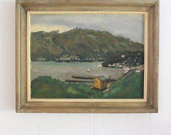 Vintage Mid Century Coastal Landscape Painting, Fishing Village, Green Hills