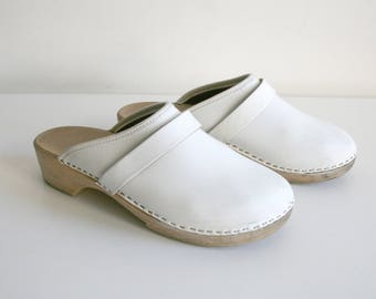 White Leather Clogs 6.5