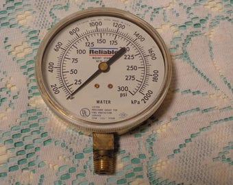 Vintage Industrial Brass Pressure Gauge - Relaible - U.S. Gauge Water Gauge