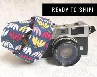 READY TO SHIP - Skinny Camera Strap, Basic Camera Strap, Padded, Photographer, Nikon or Canon Strap, Photographer Gift - Blossom