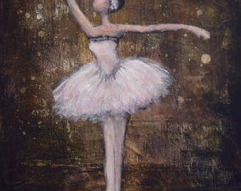 Ballerina Painting Dancer Painting Figure Painting Ballet Espresso Blush pink For the Stars 24x18x1.5