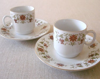 Pair of Vintage Floral Demitasse Espresso Cups with Saucers