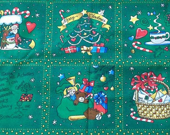 Christmas Novelty Print on Green Background Cotton Fabric 1 2/3 yards X0899 Quilts, Crafts