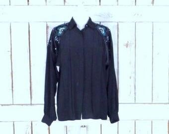Vintage Joseph Ho black silk beaded button down long sleeve blouse/crustal beaded applique silk shirt/10