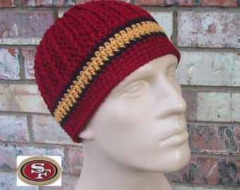 Beanie in Team Colors - 49ers - Dark Red & Gold Colors - Unisex / Mens Size Medium - Hand Crocheted Soft Warm Acrylic Yarn - Great Gift