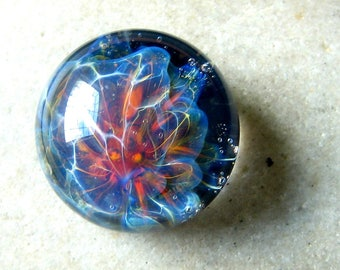 Deep Sea- Lampwork Cabochon - Boro Glass Implosion - 18mm - SRA