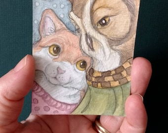Owl and the Pussycat....Original ACEO