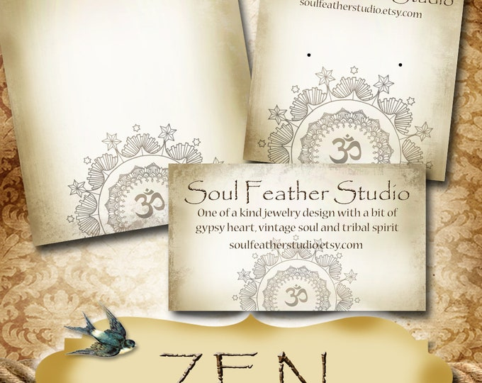 ZEN•Custom Tags•Labels•Earring Display•Clothing Tags•Custom •Boutique Card•Tags•Custom Tags•Custom Labels