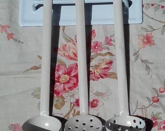 Dolls Vintage French Enamel Utensils rack ladles child's Farmhouse kitchen small hanger