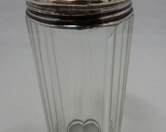 Antique Signed Webster & Co. Tall Glass Vanity Bottle or Powder Shaker w/ Sterling Silver Top    OBL4