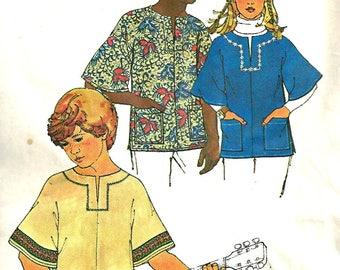 1970's Simplicity 6864 Pattern PullOver Top Teen Boy or Girl  Medium