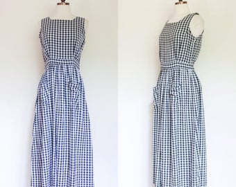 vintage 1990s 1980s Indian cotton gingham midi dress / 80s 90s sleeveless black and white check dress with buttons / M 8