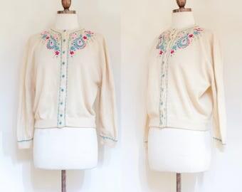 vintage 1960s cream cashmere cardigan   60s Dalton ivory hand embroidered cardigan sweater   S