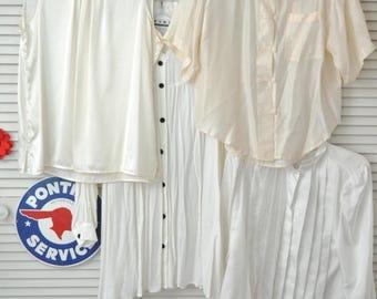 Vintage 90s 80s Womens Dress Shirts Destash White-Ivory Professional-Dressy-Poet Blouse Waitress Med-large NWTs Costume Theater Bundle of 4