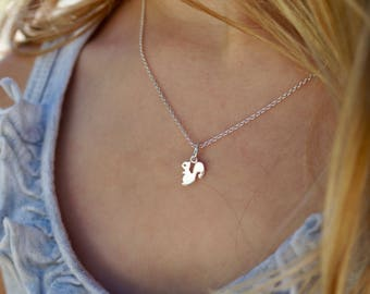 """Delicate Squirrel Sterling silver Pendant Necklace from the """"Petite Ménagerie"""" collection by Camille Grenon - Simple Tiny Gift Forest Animal"""