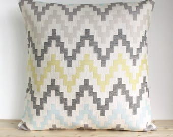 Throw pillow cover, Heavyweight pillow sham, Scandinavian cushion cover, Zigzag Pillowcase, Yellow Pillow Cover - Scandi Zigzag Grey