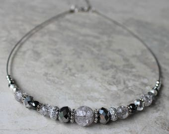 Silver Beaded Necklace, Gray Necklace, Short Necklaces, Beaded Necklaces for Women, Wire Necklaces, Silver, Gray, Black, Necklace Gifts