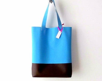 Vegan leather tote bag, personalized leather tote, tote bag for teachers, teacher tote bag handmade tote bags, blue tote bag, yoga tote bag