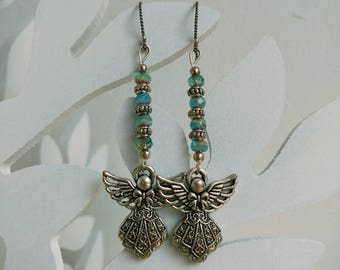 Earrings Sterling Silver Ear Wires, Czech Glass Beads, Metal Spacer Beads, Angel Charms